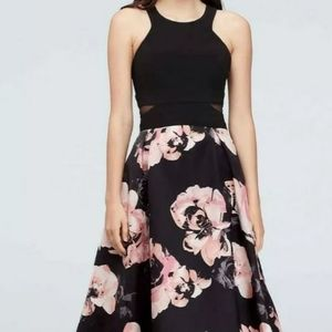 New Xscape Navy Blue Pink Floral High-Low Dress